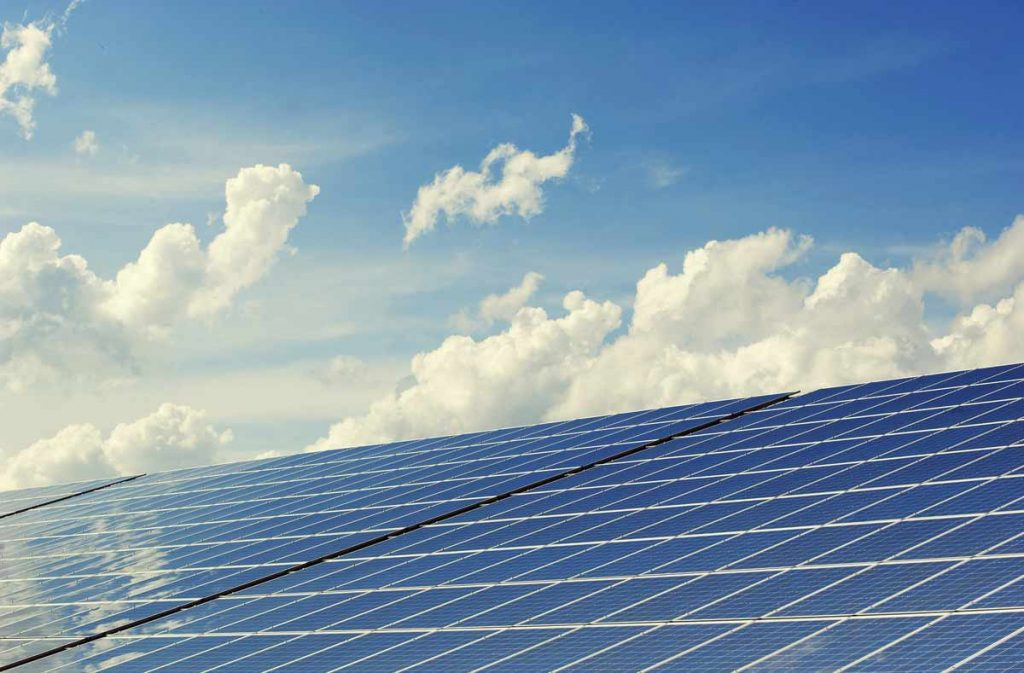 Solar Panels with Sky Background
